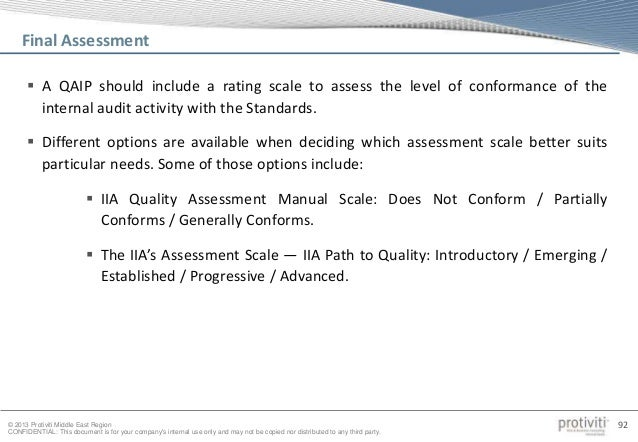 quality assessment manual for the internal audit activity pdf