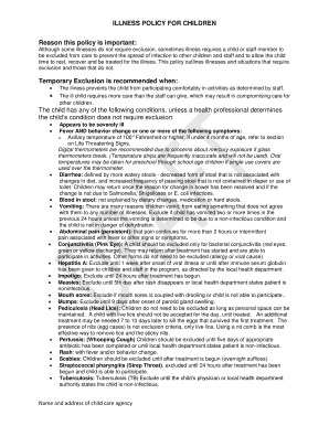 New brunswick child day care facility exclusion reference guide