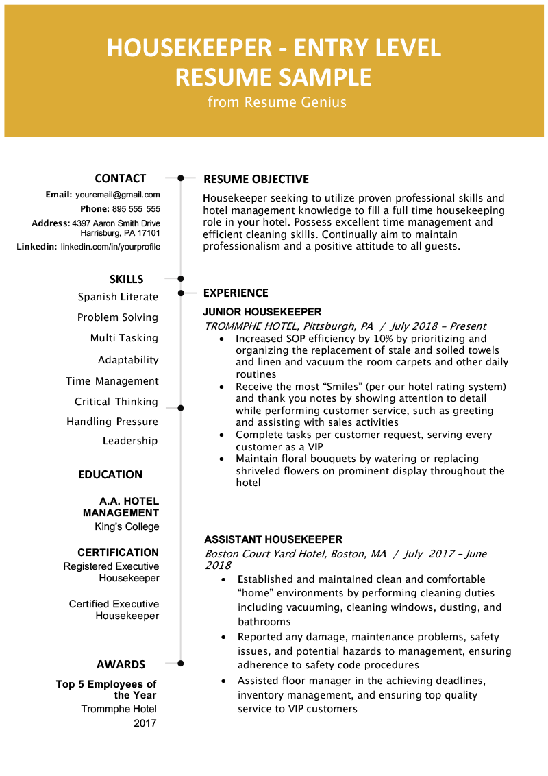 Example of reference for resort cleaner