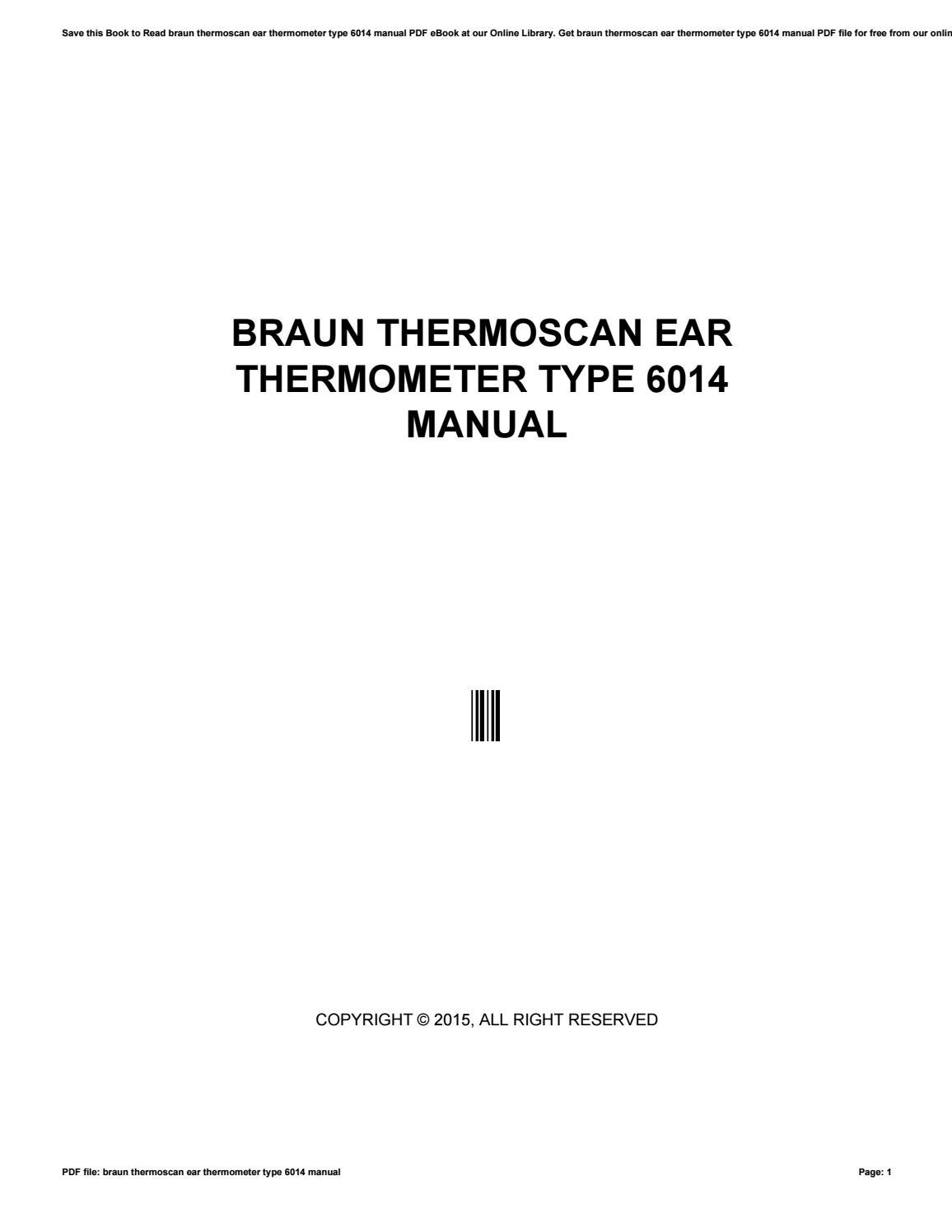 Braun thermoscan ear thermometer type 6022 manual